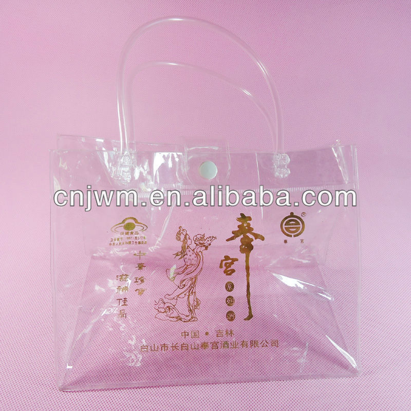 Transparent pvc wine bag with handles and button closure