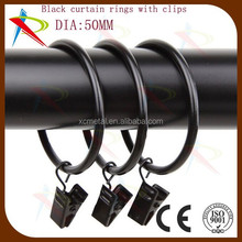 50mm black metal Curtain rings with clips