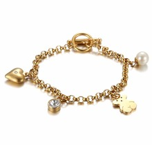 bear jewelry stainless steel plating gold bracelet jewelry design for girls