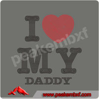 Hot Sale Iron On I Love My Daddy Crystal Transfers for Slogan T-shirts