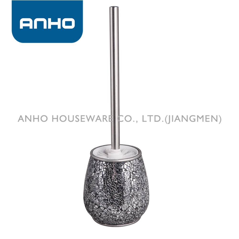 ANHO decorative cullet polyresin waterdrop-shape toilet brush