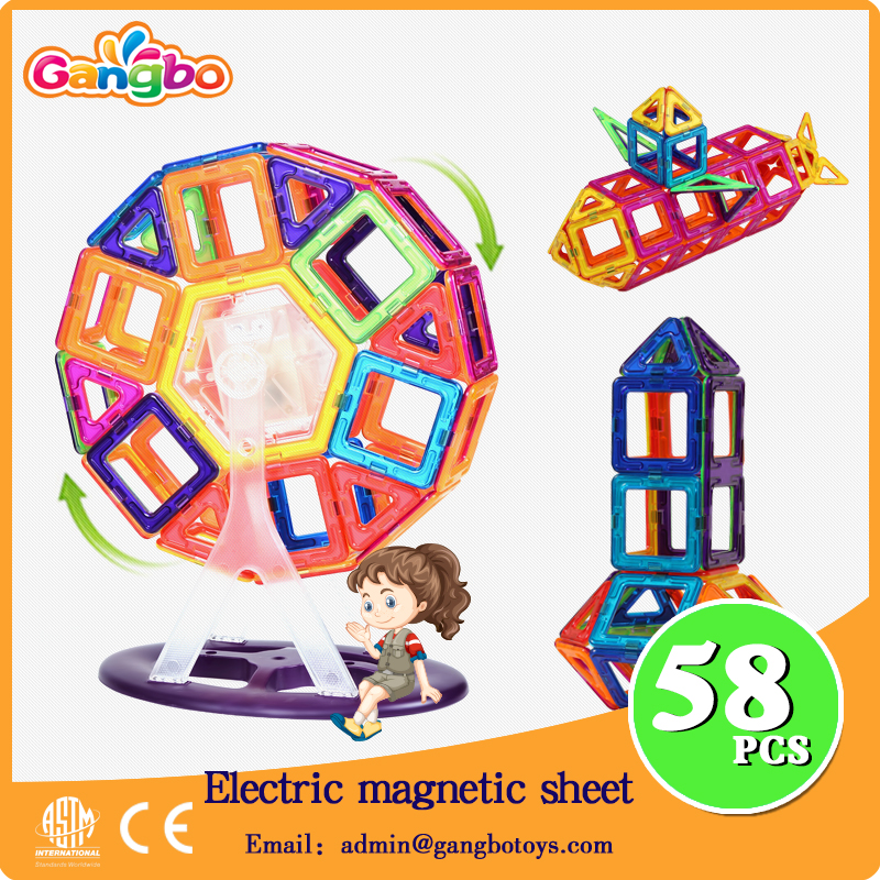 58pcs magna Ferris wheel Educational Electric toy plastic magnetic building blocks