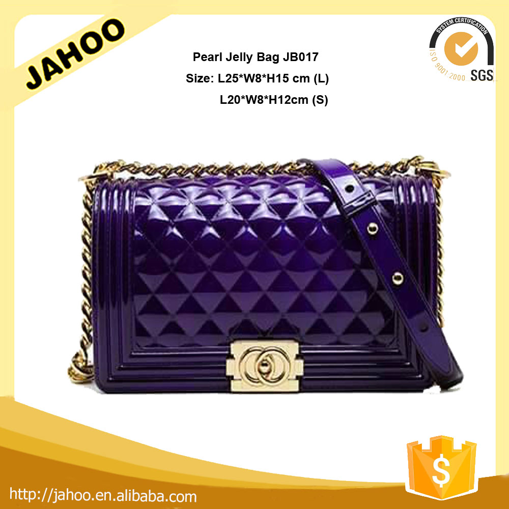2016 Star Favourites Silicone Rubber Materials Candy Color High Quality Hardware Handbag Jelly Beach Bag for Women