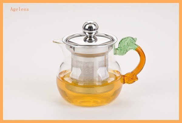 nice colored glass bowl crystal teapot set