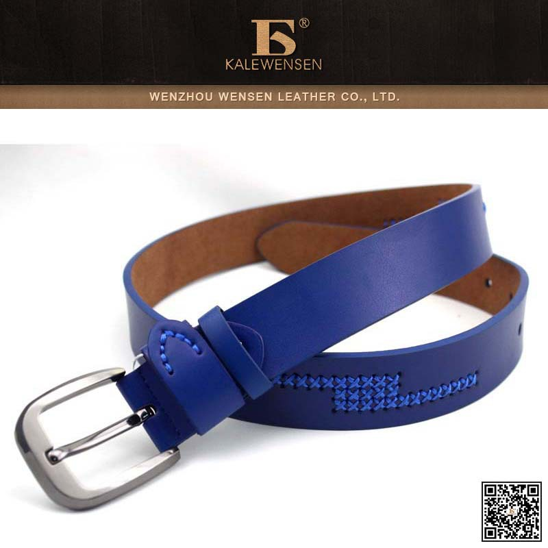 Top selling! Fashionable skinny leather belt with metal buckle