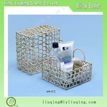 Square Twine Wicker Knitted Open Weave Tray cosmetic wciker basket with metal frame set of 2