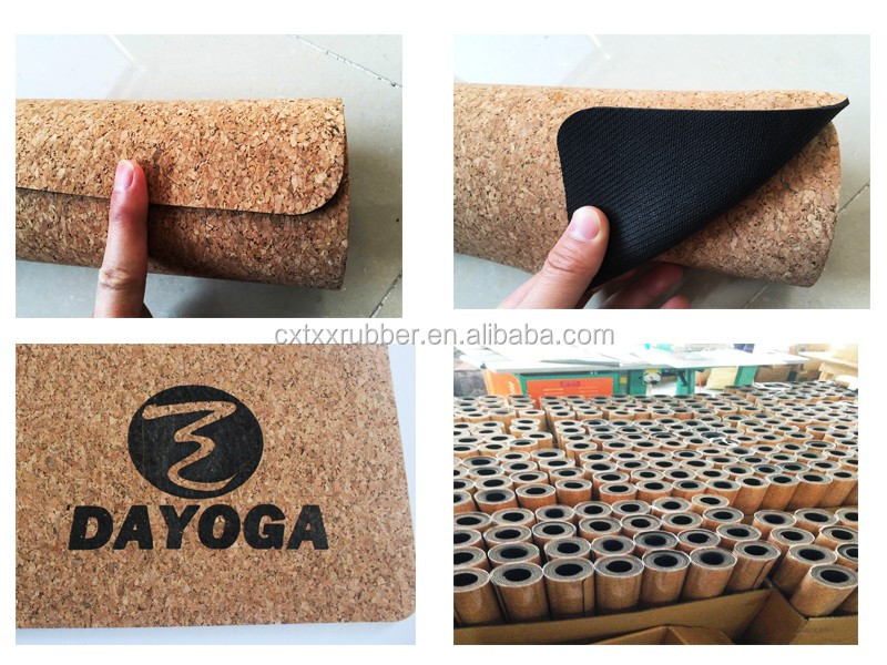 "72x14 ""cork tapete de yoga de borracha natural com alça de transporte"
