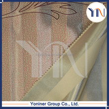 Brown leaf pattern printing curtain fabric/stripe blackout curtain fabric with high quality