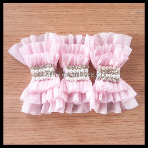 hot wholesale korean designs folded chiffon ruffle bow,rhinestone pearls decoration hair bow for childrens