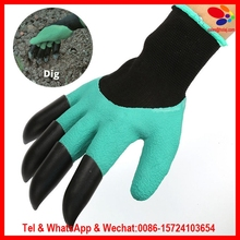 High Quality 1 pair new Gardening Gloves for garden Digging Planting with 4 ABS Plastic Claws gardening plastic claws gloves