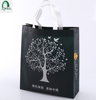 High quality ultrasonic black nonwoven shopping bag with lamination