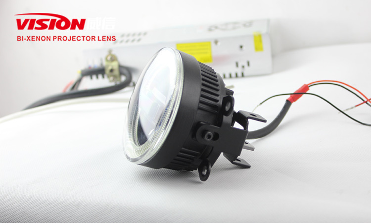 Waterproof 3 in 1 led fog light cob angel eye projector with aluminum material