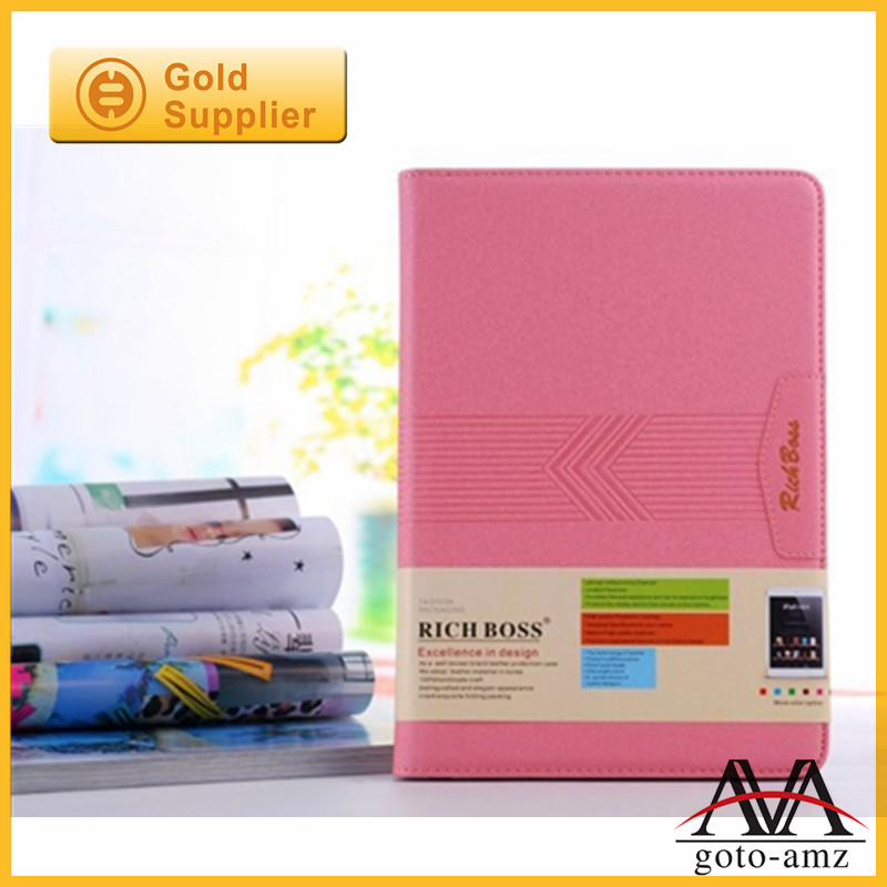 Rich Boss 2014 New Arrival card slot leather case for ipad mini 2