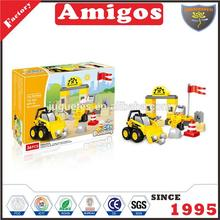 2017 Children Building Blocks Assembling Bricks Baby Toy Construction Vehicles Kid Mini Car Toy Yellow Color