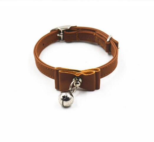 Brown Rolled Leather Pet Collar Bowknot Dog Collar With Small Bell