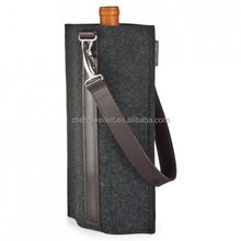 Factory direct sale polyester felt red wine bag with leather