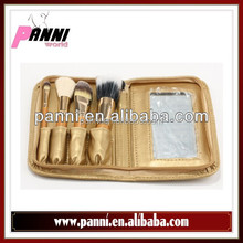 Professional beauty brushes 4pcs make up brush set with golden color leather bag