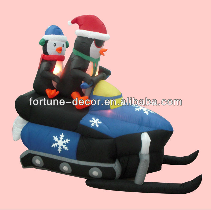 240cm/8ft Inflatable Christmas penguin driving motorcycle