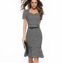 Wholesale fashion ladies dress formal fish tail design women lady casual western plaid dresses