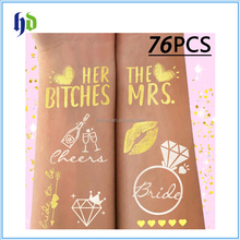 Bride and Bride Tribe Gold Temporary Tattoos and Bride To Be Satin Sash For Bachelorette Party Supplies Ideas Accessories Favors