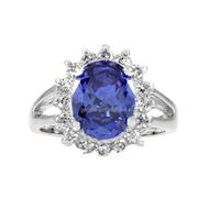14K White Gold Eternity Blue Diamond Cocktail Tanzanite Gemstone Rings