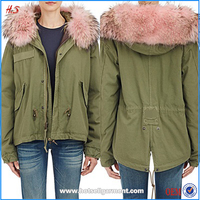 2016 Wholesale coats and jackets woman ladies military latest fashion winter fur women's coat