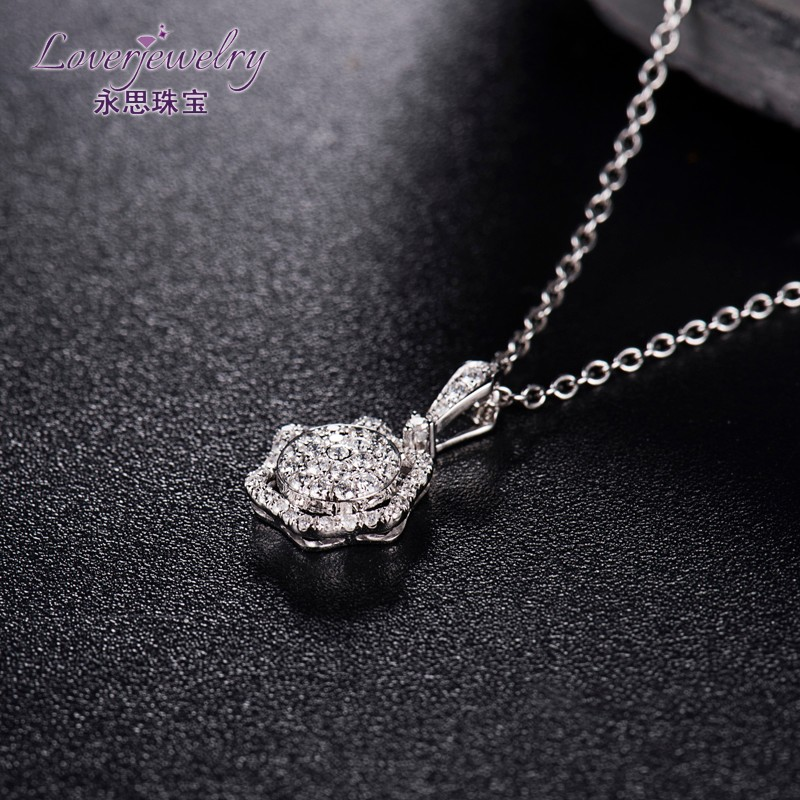 18K White Gold 0.35CT Natural Diamond Saudi Arabia Gold Pendant