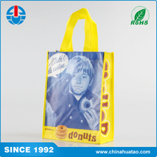 Fugang Cheapest Customized Printing PP Non Woven Shopping Bag With Yellow Handle