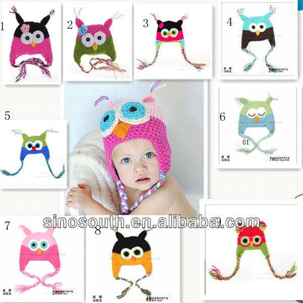 Hecho a mano Animal Crochet búho de punto de bebé sombreros de ...