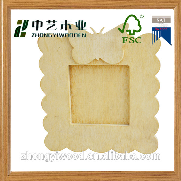 2016 FSC&SA8000 approved art minds home decor laser engraved butterfly pattern solid pine mini picture frames love photo frames