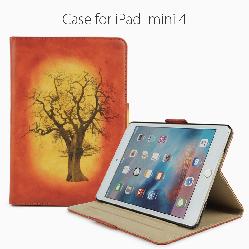 Waxed color laser printing fall tree pattern vegetable tanned leather cases for Ipad Air/mini...