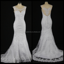Women's Scoop Neck Lace Applique Mermaid Wedding Dress See Through Back Bridal Dress