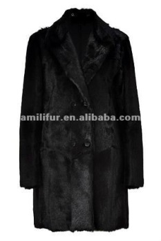 Black Goat Fur Long Sleeve Coat STY.NO. 3123
