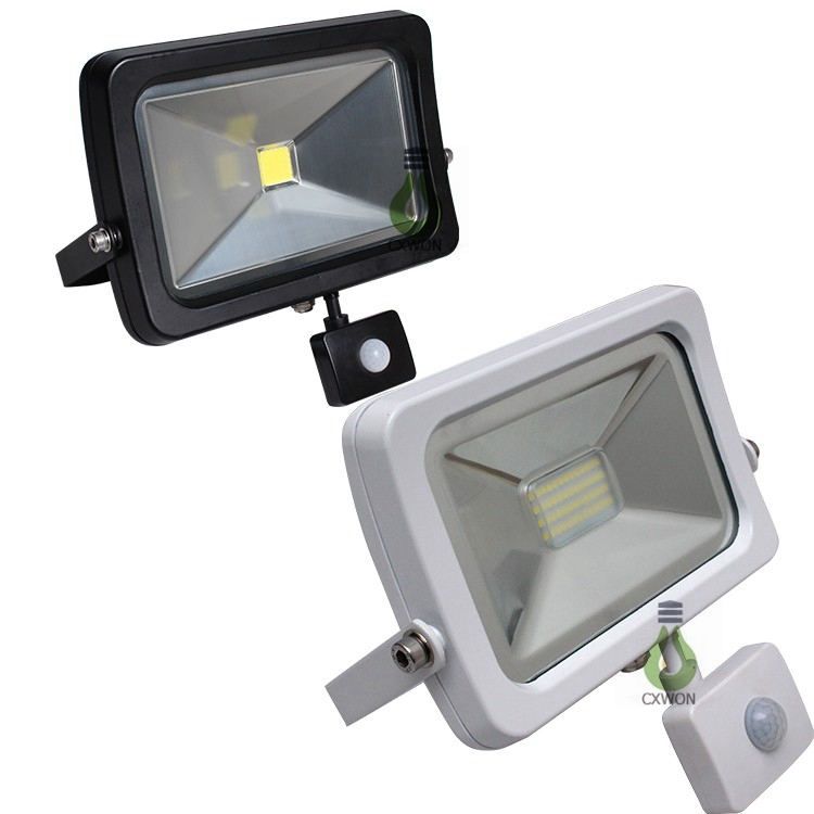 Slim Shell White AC100-240V 90lm/<strong>w</strong> COB 50W Outdoor LED Flood light with Motion sensor