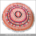 100% cotton velour, custom printed Indian style round beach towel with tassel