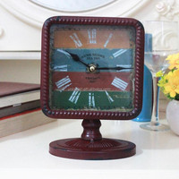 Square Antique Decoration Metal Gift Table Clock