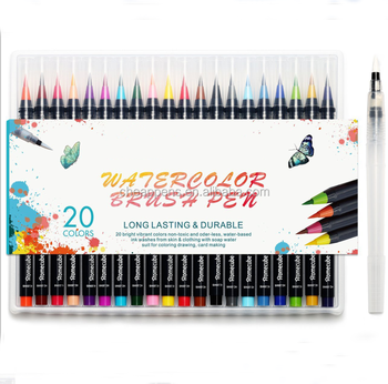 Set of 20 flexible brush tip marker+1 water pen watercolor pen set