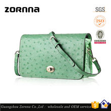 High quality genuine lady ostrich leather handbag with key holder slot