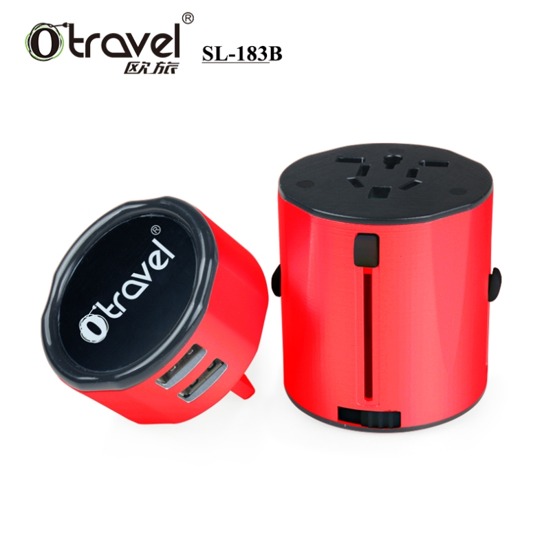 New products patent unique dual usb power plug europe us uk japan ce universal travel adaptor