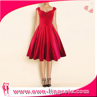 RED and BLACK women spain vestido cocktail party swing dress