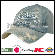 Embroidered fashion stone washed denim cap
