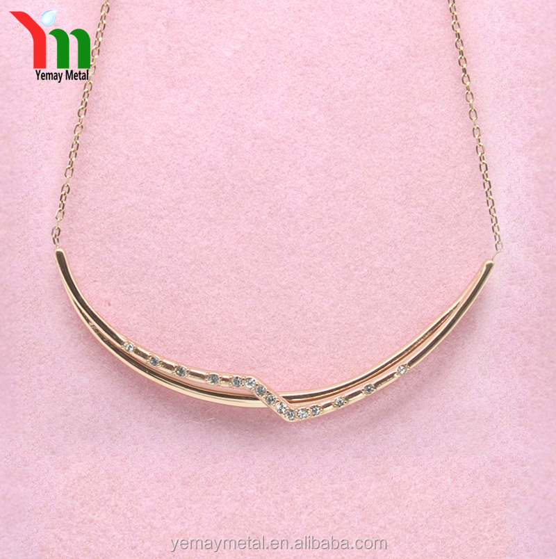 Gold Plated 316L Stainless Steel Fashion Crystal Chain Necklace