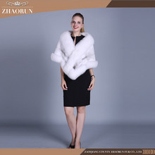 Classic style women white mink fur shawl with fox fur real mink fur cape for lady