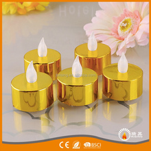 2017 Fancy Electroplate Metal Colors Flameless Flickering Tea Light Led Candles