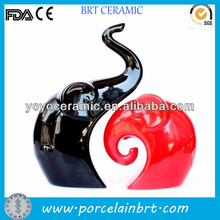 Elephant shaped ceramic red and black wedding decorations