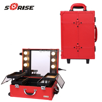 Sunrise 2016 Professional PVC Makeup Case with Stand Light and Mirror