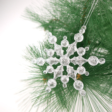 "4"" clear plastic snowflake ornament with glitter Christmas Decoration"