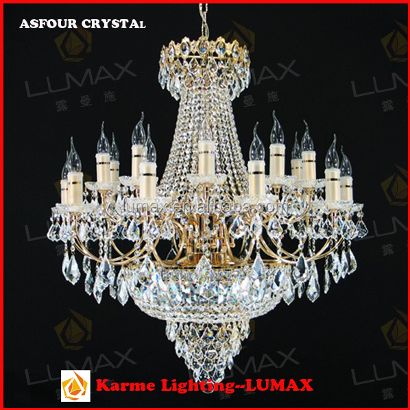 Medium size European style LED sitting room Ttwo layers iron & crystal chandelier