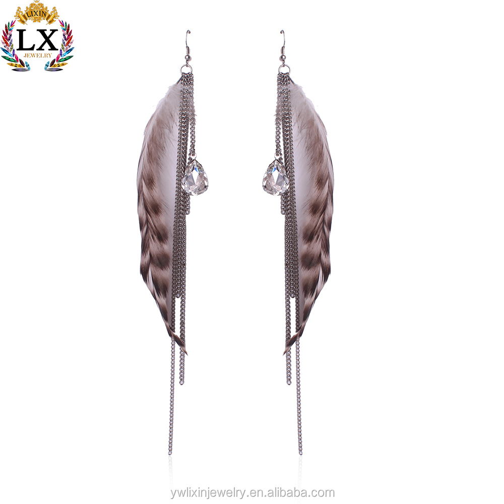 ELX-00179 trendy soft real feather earrings for women with silver long chain drop crystal one side feather earrings