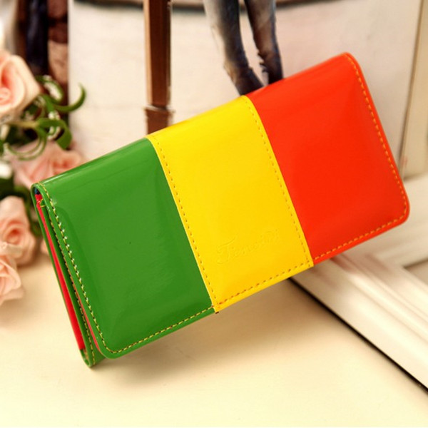 women's long purse Candy bright color wallet card package Exchange hand pu purse